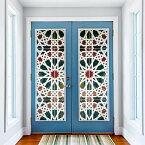 ドアステッカー トリックアート モロッコスタイル ステンドグラス カラフル だまし絵シール インテリア DIY