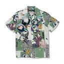 シルクアロハシャツ <猫の歌舞伎/白鶯> 【Pagong】 和柄 アロハ 京友禅 メンズ ミュージアムコレクション 歌川国芳 浮世絵 シルク100%