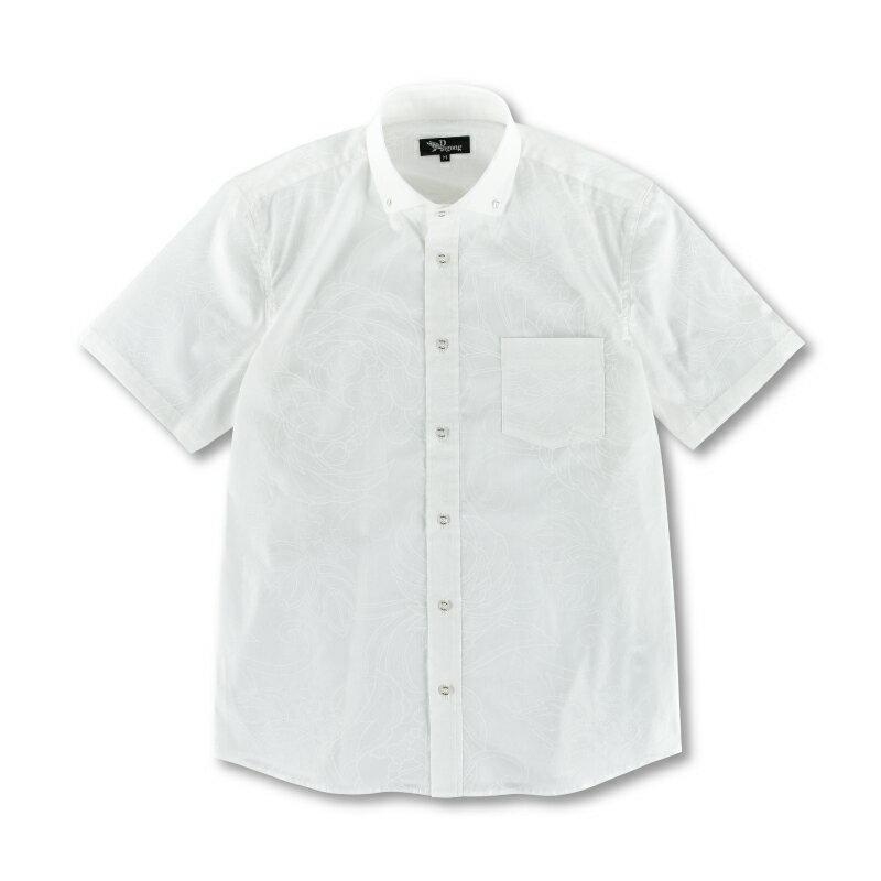 半袖ボタンダウンシャツ <鳳凰/白> 【Pagong】 和柄 京友禅 半袖 ボタンダウン メンズ コットン98%ポリウレタン2%