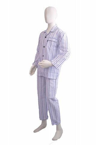 【混紡】 襟付きパジャマ(白地にブルーストライプ)メンズナイトウェア