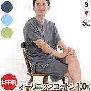 日本製 肌に優しい オーガニックコットン メンズ パジャマ 半袖 天竺ニット 綿100%