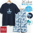 【POLO】 メンズ 半袖Tシャツ&綿100% 6分丈ステテコ 上下セット (M/L/LL)[ POLO ポロ メンズ 男性 紳士 パジャマ 上下 部屋着 寝巻き 夏 ステテコ 贈り物 父の日 涼しい ]