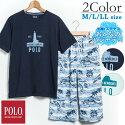 【POLO】メンズ半袖Tシャツ&綿100%6分丈ステテコ上下セット(M/L/LL)[POLOポロメンズ男性男紳士パジャマ上下セットルームウェア部屋着寝巻き天竺夏ステテコリゾートプレゼント贈り物父の日涼しい]