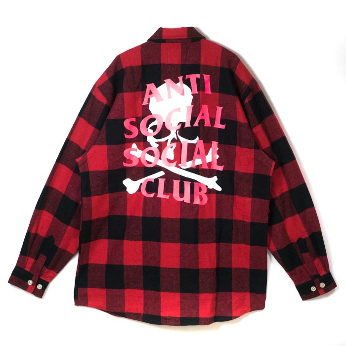 トップス, カジュアルシャツ mastermind JAPAN x Anti Social Social Club ASSC Flannel Shirt Red 2018SS
