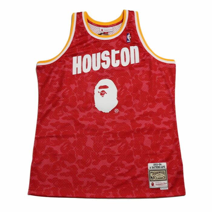 メンズウェア, ゲームシャツ A BATHING APE BAPE Mitchell Ness ROCKETS CAMO BASKETBALL TANKTOP RED 2019AW