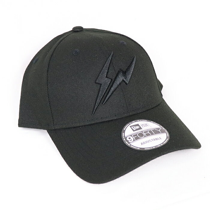 メンズ帽子, キャップ FRAGMENT DESIGN x NEW ERA THUNDER LOGO CAP BLACK 2020FW 9FORTY