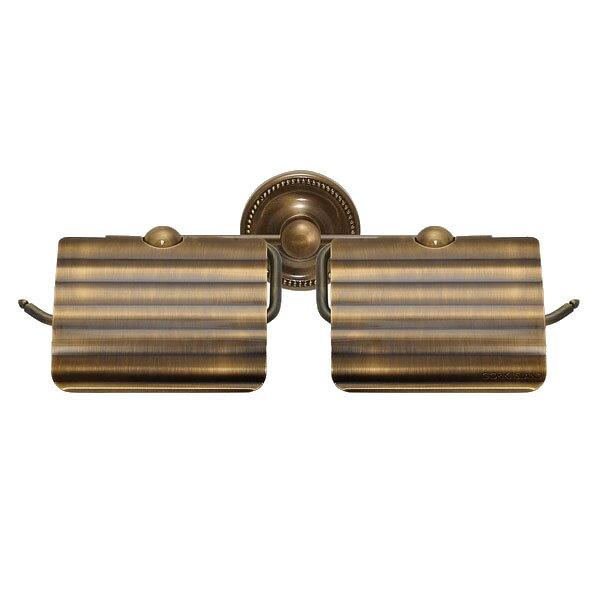 640623 お洒落な真鍮製ダブルトイレットペーパーホルダー(アンティークブラス)|アンティーク調ダークブラウン