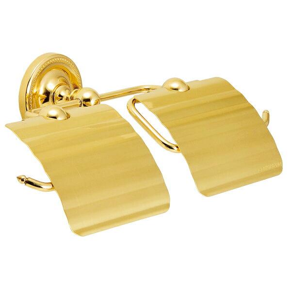 640789 おしゃれな真鍮製トイレットペーパーホルダーダブル(ヴィクトリアン・ブラス)|アンティーク調ゴールド色