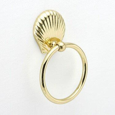 640057 真鍮製タオルリングシェル・タオル掛け(クラシック)|アンティーク調ゴールド