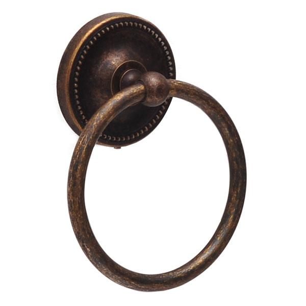 640775 お洒落な真鍮製タオル掛け・タオルリングS(真鍮古色仕上げ)|アンティーク調