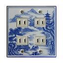【有田焼】伊万里焼 染付祥瑞 そめつけしょんずい スイッチプレート(4口) ART1-EL004 鮮やかな染付の藍色 キッチン 洗面所 手洗い トイレ コンセントカバー
