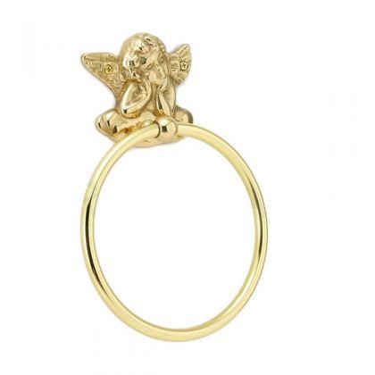 640211 真鍮製タオルリングL・天使のタオル掛け(エンジェル)|アンティーク調ゴールド