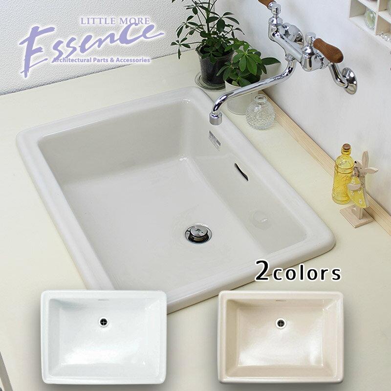 エッセンス スクエア 大型 洗面ボウル Lレクタングル 選べる2色 W575×D430×H213mm 陶器製 洗面ボール E274240 E350060