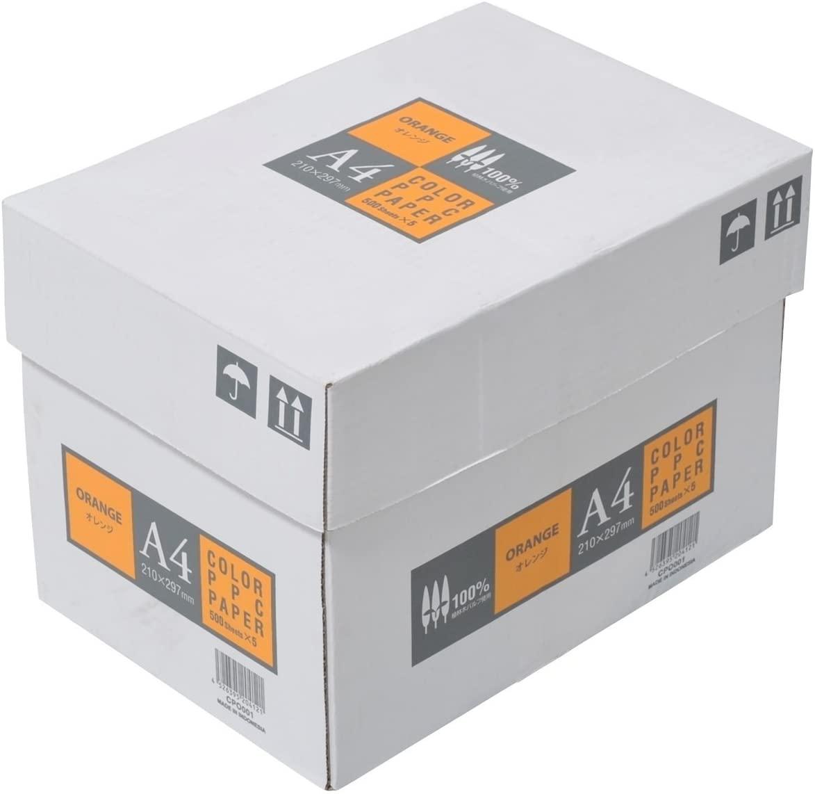 APPJ カラーコピー用紙 オレンジ A4 5000枚 (500枚×10〆)沖縄は9800円以上 送料無料画像