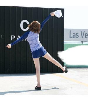 伸縮性に優れているのでどんなスポーツにも対応します水着体型カバーレディースセットアップフィットネス水着ラッシュガード長袖トップスショートパンツ可愛い