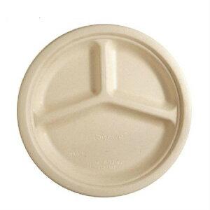 紙皿 SBT-BePulp 三区切り 丸トレイ 26cm [50枚入] セイバート 使い捨て バガス フードパック 紙製ランチボックス デリバリー 配達 アウトドア イベント 電子レンジ対応 耐油 カフェ エコ 環境配慮