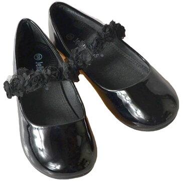 フォーマル靴 フラット シューズ 女の子 ブラック 18.5-23.5cm
