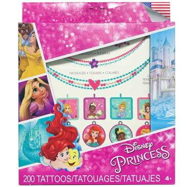 【割引クーポン有】タトゥーシール ディズニー プリンセス カラー キャラクター 200カット 大容量 タトゥー シート アクセサリー