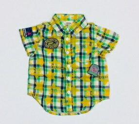 キッズ星プリント半袖チェックシャツ 90cm トップス 男の子 アウトレット
