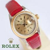 1年保証OH済ロレックスREF69173デイトジャストゴールドベゼルK18/SS1985年製レディース腕時計新品リザード革ベルト自動巻ビンテージ【中古】