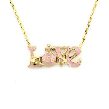 ヴィヴィアンウエストウッド ネックレス LOVE ペンダント ゴールド/ピンク Vivienne Westwood