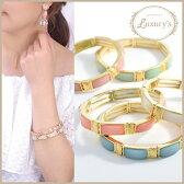 【 メール便 送料無料 】 ブレスレット ブレス バングル パステル ストーン Luxury's ゴールド