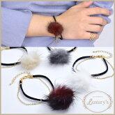【 メール便 送料無料 】 ブレスレット ブレス ミンク ファー 2連 フェイクレザー チェーン Luxury's ゴールド