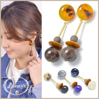 Pretty blue-black blue black and white tortoise shell wedding ceremony charm parts Luxury's where the pierced earrings tortoiseshell Wood beads stone ball lady's overswinging size monotone volume swing motif which I hang, and an adult catch does not fall