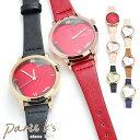 腕時計 レディース フェイクレザー ハート シンプル ピンク レッド ...