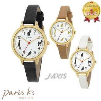 4只手表的猫猫nekonyanko轮廓假货皮革皮带表女士J-AXIS HL209配饰冬季商品手表
