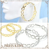 ピアス オープン ラウンド メタル フープ ピアス 60mm ゴールド シルバー 母の日 プレゼント【PARIS KID'S(パリス・キッズ)】