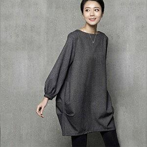 秋冬 チュニックワンピース バルーン袖 長袖 ゆったり チューリップライン ブラック グレー