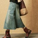 ミモレ丈デニムスカートサイドポケットダメージジーンズミモレ丈後ろゴム大きいサイズ有りS〜XXXL(3L)送料無料