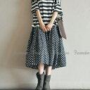 ギャザースカートドット柄リネンスカートミモレ丈ボリュームたっぷりフリーサイズウエストゴム