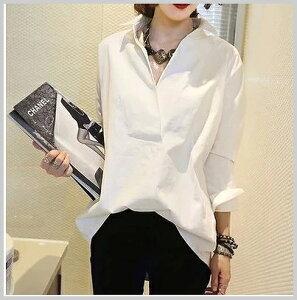 スキッパーシャツ ホワイト 長袖 ブラウス V襟 被り 通勤 お出掛け 上品 小さいサイズ 大きいサイズ有り S〜XL