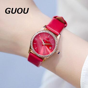 GUOU 腕時計 時計 レディース 女性用 ウォッチ セレブ 人気 アクセサリー ラッピング無料 かわいい おしゃれ ピンクゴールド ブレスレット 旅行 イベント カジュアル 通勤 通学 丸形 ダイヤモンド カレンダー6012