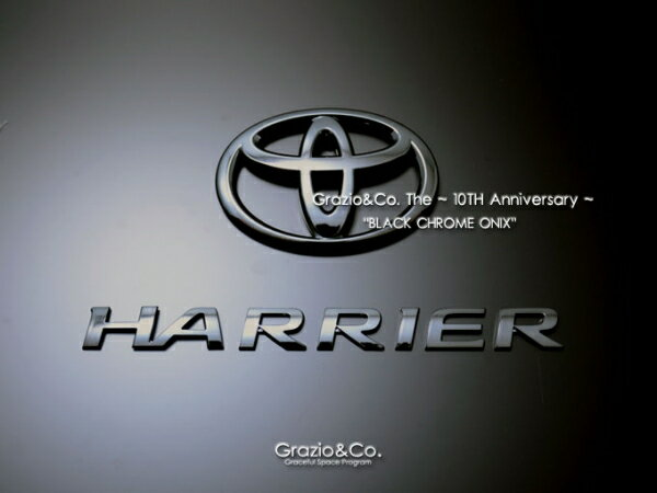65W 60W ハリアー HARRIER   オーナメント / エンブレム【グラージオ】ハリアー 60系 GS ソリッドカラーエンブレム 前後3点SET (フロント鷹/リヤT/ハリアーロゴ) (ガソリンモデル専用品) ブラック ・オニキス