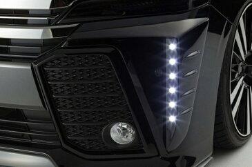 30 ヴェルファイア   フロント デイライト【シックスセンス】ヴェルファイア 30系 Z 純正バンパー LEDデイランプキット FRP 2色塗分塗装 グレイッシュブルーマイカメタリック 8V5 / マットブラック