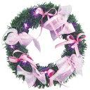 PVC リース ピンクリボン ピンクLED付き 25cm 【 リース 玄関 雑貨 ドア飾り パーティーグッズ クリスマスパーティー 装飾 デコレーション 壁飾り クリスマス飾り クリスマスリース 】