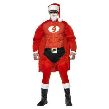 【送料無料】 スーパーフィットサンタ 大人用 M 【 仮装 衣装 コスプレ おもしろ クリスマス コスチューム 爆笑 サンタ おもしろコスチューム メンズ 笑える 男性用 ウケる 面白 サンタコスチューム 】