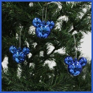 【あす楽12時まで】 クリスマスツリー ミッキー ボール 35mm ブルー [ 飾り オーナメント クリスマスツリー ボール ブルー 装飾 ディズニー公式ライセンス ]