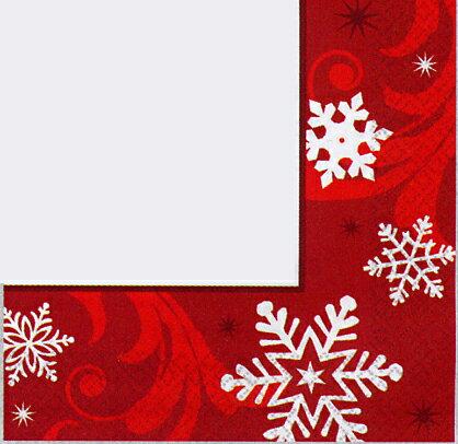 クリスマス 紙ナプキン スノーフレーク レッド 16枚入り 33cm アメリカ製 ランチョンナプキン 飾り付け 撮影小物 赤色 イベント 店舗装飾 不織布 【1点までネコポスOK あす楽】