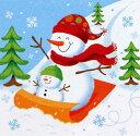 クリスマス 紙ナプキン スレッジスノーマン 18枚入り 33cm 雪だるま アメリカ製 ランチョンナプキン 飾り付け 撮影小物 ブルー イベント 店舗装飾 ディスプレイ 【1点までネコポスOK】