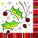 クリスマス 紙ナプキン ヒイラギ ホリーポップ 16枚入り 33cm ランチョンナプキン 飾り付け 撮影小物 ホワイト チェック イベント 店舗装飾 【1点までネコポスOK あす楽】