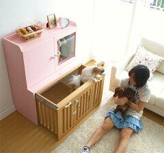 【ララルー 木製 ペット ロッカー付ゲージ W=90cm ※60サイズもあります】ケージ 部屋 家 愛犬 ...