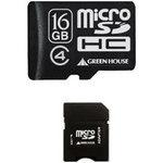 グリーンハウス SDカード変換アダプタ付属 Class4 microSDHCカード 16GB GH-SDMRHC16G4 [GH-SDMRHC16G4]|| 16ギガ