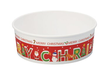 クリスマス2018 XS981A ロールフリーカップ (メリークリスマス)5枚ふた付き惣菜容器・容器・チキン・フライドチキン・ポップコーン・フードコンテナ・ギフト・プレゼント・お菓子・製菓用品・パーティー・バーレル・紙製