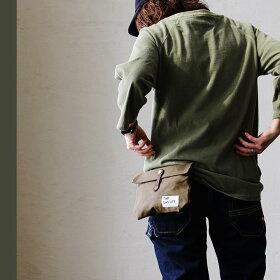 ウエストバッグパラフィン加工8号キャンバスヌメ革ベルト(メンズレディースバッグ鞄カバンアウトドアポーチバムポーチ)