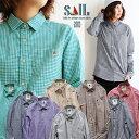 【送料無料】SAIL[セイル]長袖 シャツ ギンガムチェック柄 フェイク プルオーバー ワンポイント 刺繍 日本製 綿100% コットン ネイビー…