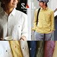 【送料無料】SAIL[セイル]長袖 日本製 無地 シャツ ワンポイント ソフトリネン コットンオックス 生地 メンズ レディース 綿 麻 ホワイト ネイビー 紺 オリーブ 白 大きいサイズ 大きめ|カジュアルシャツ カジュアル 綿麻リネン 長袖シャツ 女性 夏